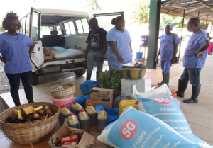 HOSPITAL STAFF READY FOR FOOD DISTRIBUTION TO QUARANTINE HOMES