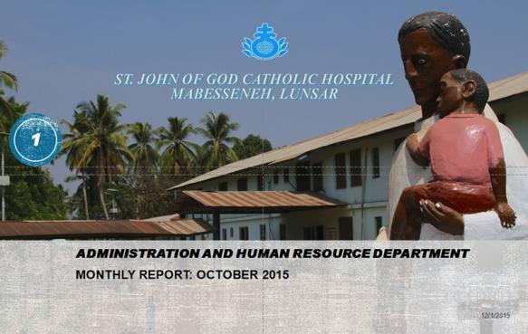 Informe de las actividades el Hospital de Mabesseneh del mes de Octubre 2015