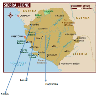 Mapa de Sierra Leona. Nuevo caso.
