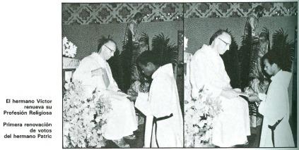 El Hno. Victor renueva su profesión religiosa / Primera renovación de votos del Hno. Patric.