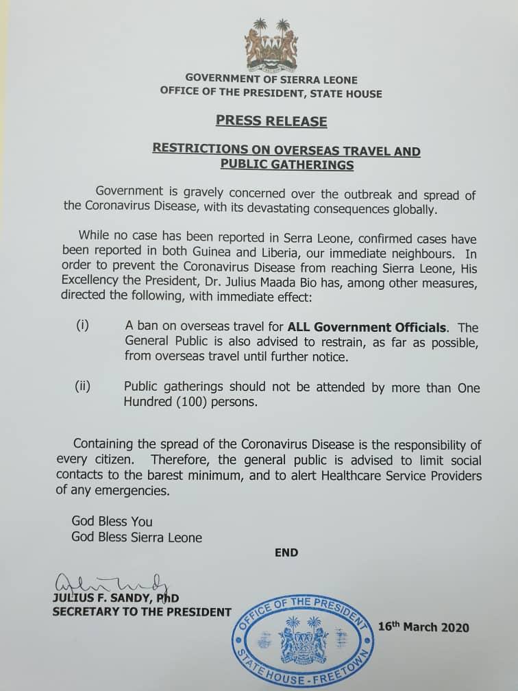 Restricciones del Gogierno de Sierra Leona